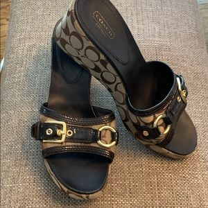 "Coach signature ""c"" wedge sandals size 10"